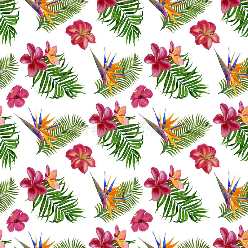 Floral tropical seamless pattern for wallpaper or fabric. Pattern with flowers and leaves. Handmade watercolor painting royalty free illustration