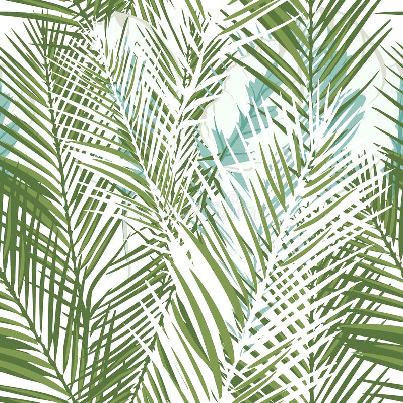 Free Floral Tropical Vector Pattern With Green Palm Plants And Leafs Royalty Free Stock Photos - 125651108