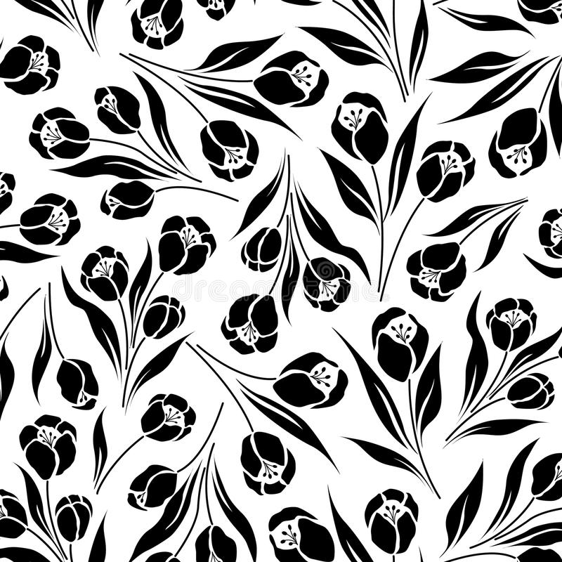 Floral tulip ditsy. Tulip ditsy print, seamless half drop repeat royalty free illustration