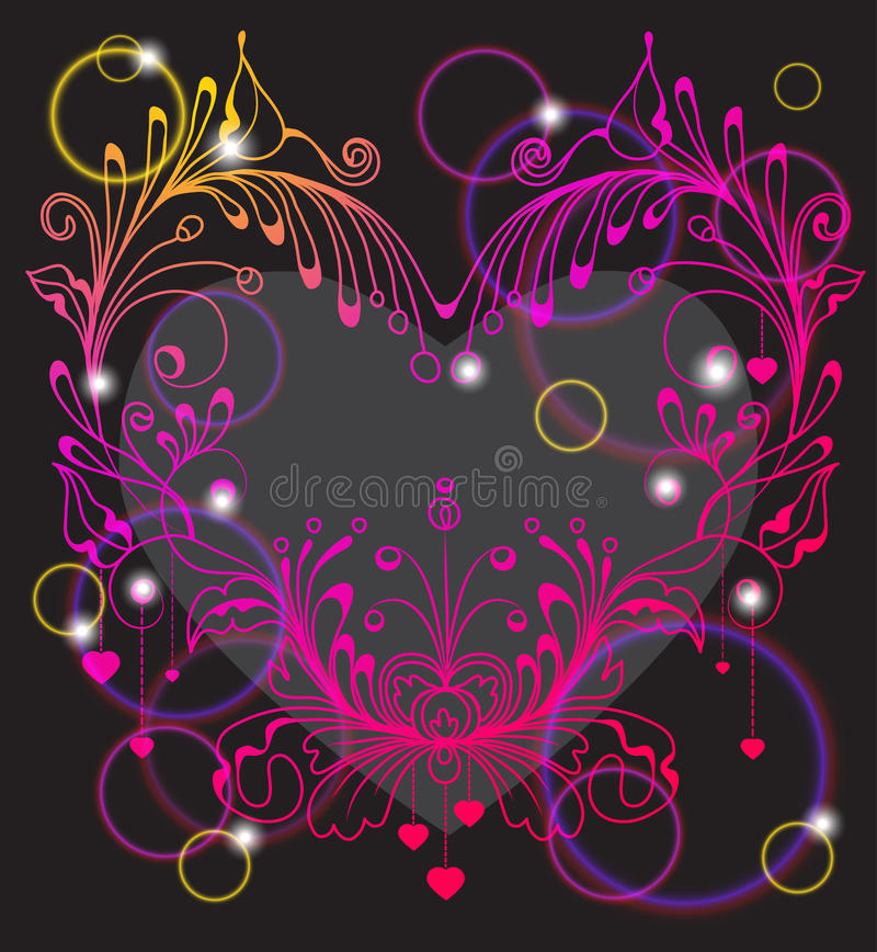 Floral Valentine Background With Heart Stock Photography