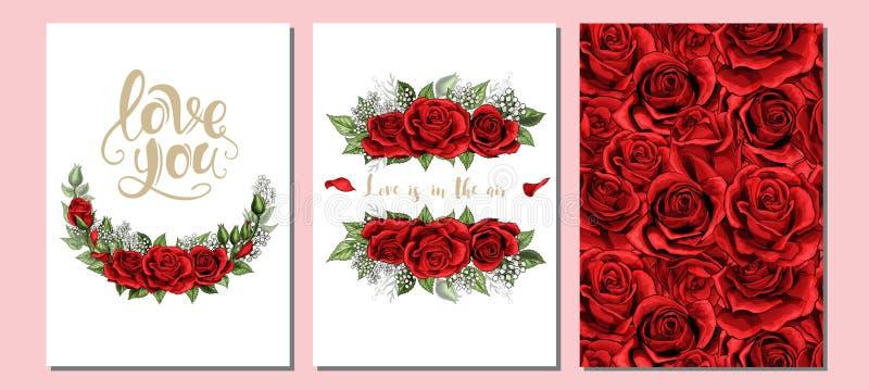 Wedding floral invite, invtation card design. Scarlet red rose flowers set. Floral valentines day, wedding invite, invtation three cards set design. Scarlet royalty free illustration