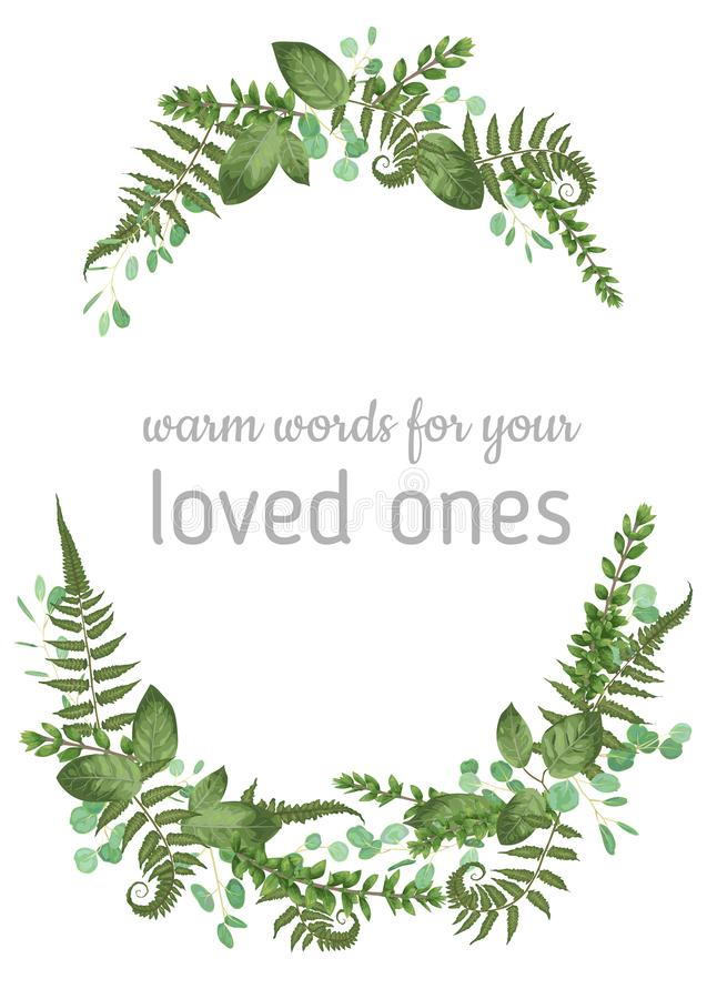 Floral vector background. Beautiful invitation with various leaves. Botanical illustration. Fern, eucalyptus, boxwood. Engraving. Floral vector background vector illustration