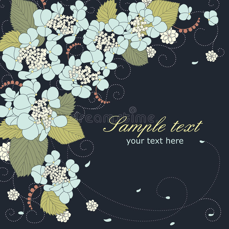 Floral vector background with blue hydrangea royalty free illustration