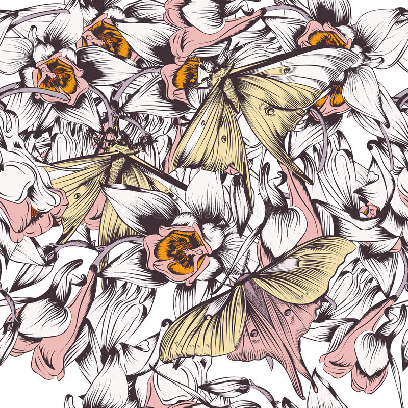 Floral vector background with butterflies and flowers filigree d. Floral seamless vector background with butterflies and flowers filigree drawn illustration stock illustration