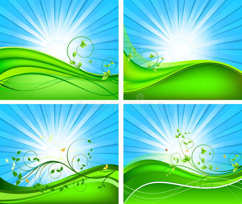 Floral Vector Background Set Stock Photo