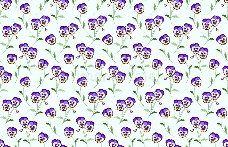 Floral Vector Background. Spring Pansy Flower Pattern. Seamless Vector Wallpaper. Viola Tricolor, Wild Violet, Heartsease stock illustration