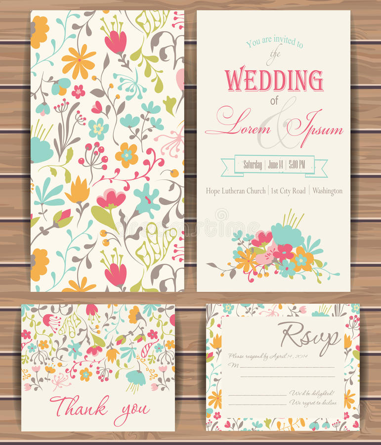 Free Floral Vector Card Templates Stock Photo - 54672150
