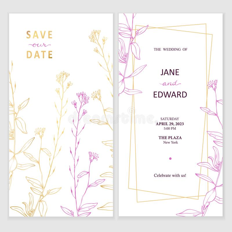 Free Floral Vector Card, Wedding Invitation. Can Be Used For - Save The Date, Mothers Day, Valentines Day, Birthday Cards Stock Photos - 156338033