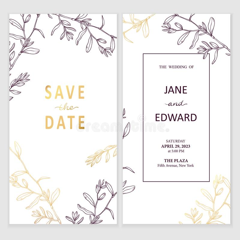 Free Floral Vector Card, Wedding Invitation. Can Be Used For - Save The Date, Mothers Day, Valentines Day, Birthday Cards Royalty Free Stock Images - 156338049