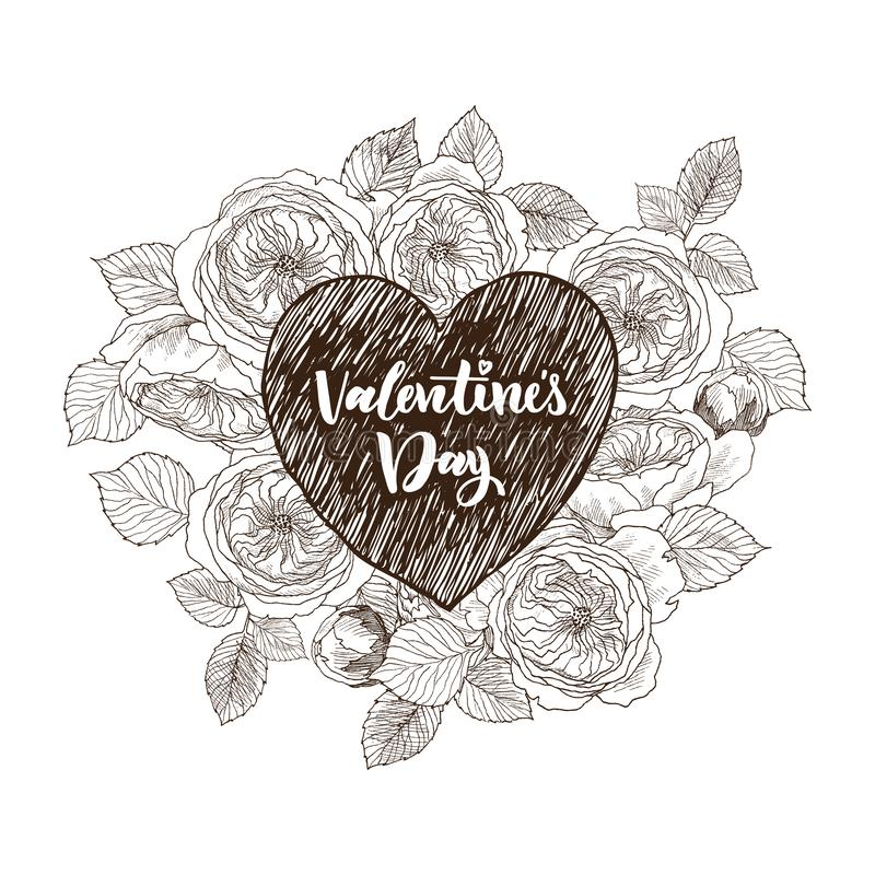 Floral vector design frame with big heart. Linear roses, eucalyptus, berries, leaves. Hand drawn wedding card vector illustration