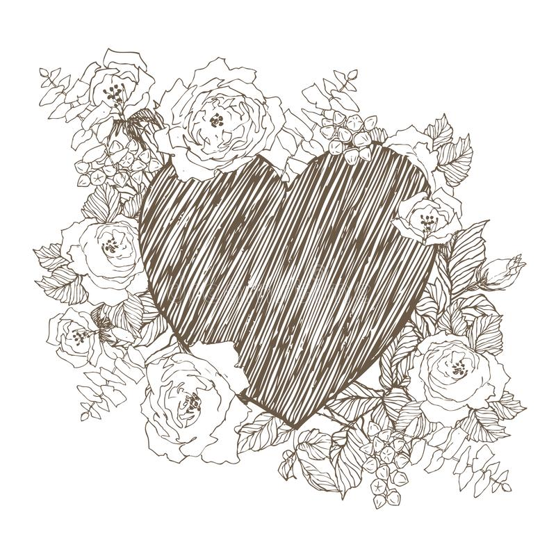 Floral vector design frame with big heart. Linear roses, eucalyptus, berries, leaves hand drawn. Wedding card vector illustration