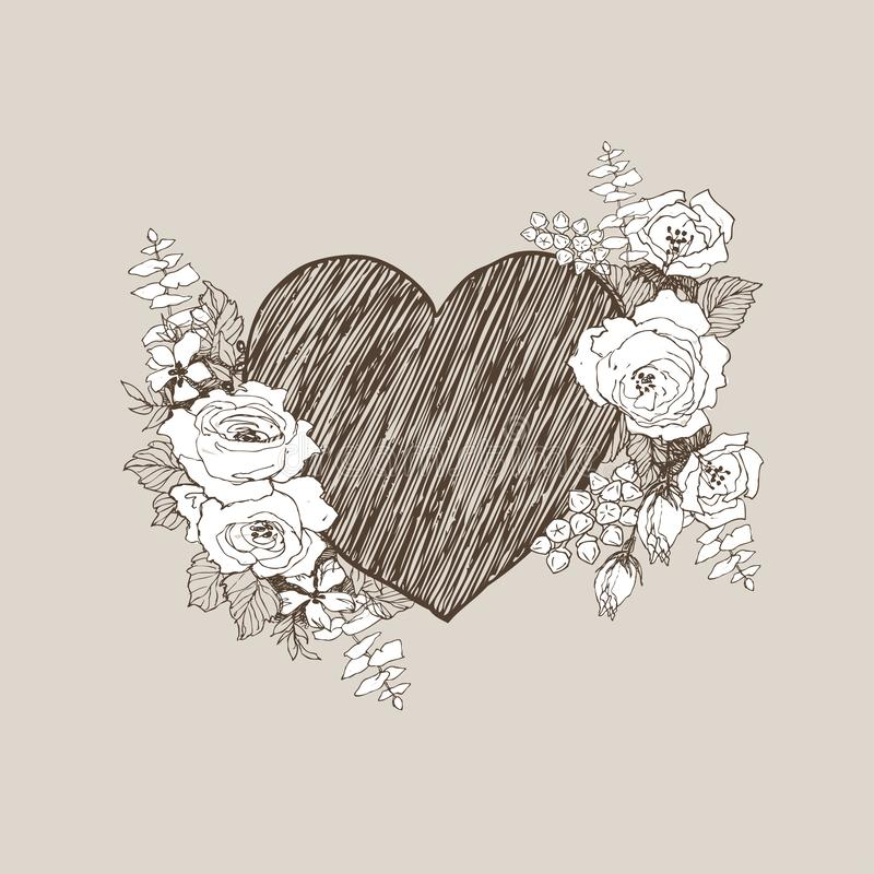 Floral vector design frame with big heart. Linear roses, eucalyptus, berries, leaves witn white silhouette. Hand drawn vector illustration