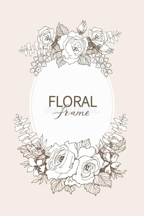 Floral vector design frame. Linear roses, eucalyptus, berries, leaves witn white silhouette. Wedding card on pink. All stock illustration