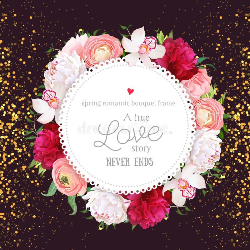 Floral vector design round card with golden glitter dark backgro stock illustration
