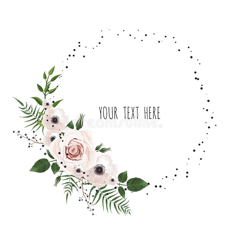 Floral vector frame with place for your text. Can be used as creating card, invitation card for wedding,birthday and other holida vector illustration