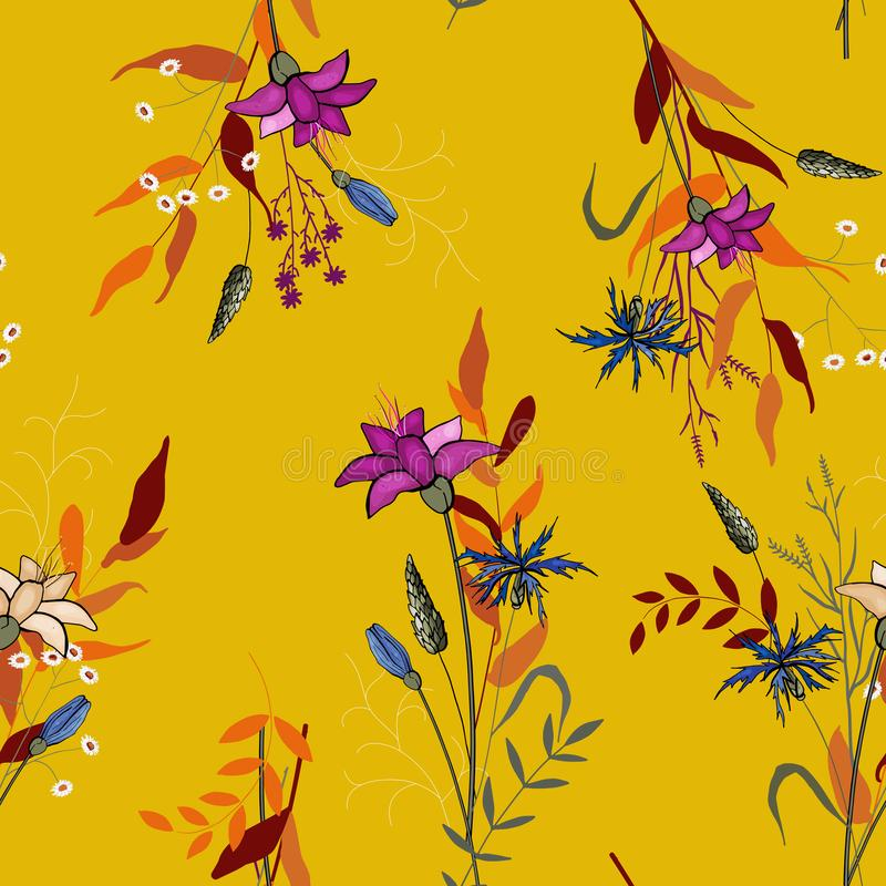 Floral vector illustration for fashion, fabric. Scarf prints. Fantasy florals seamless pattern with wild flowers. Wallpaper. Hand vector illustration