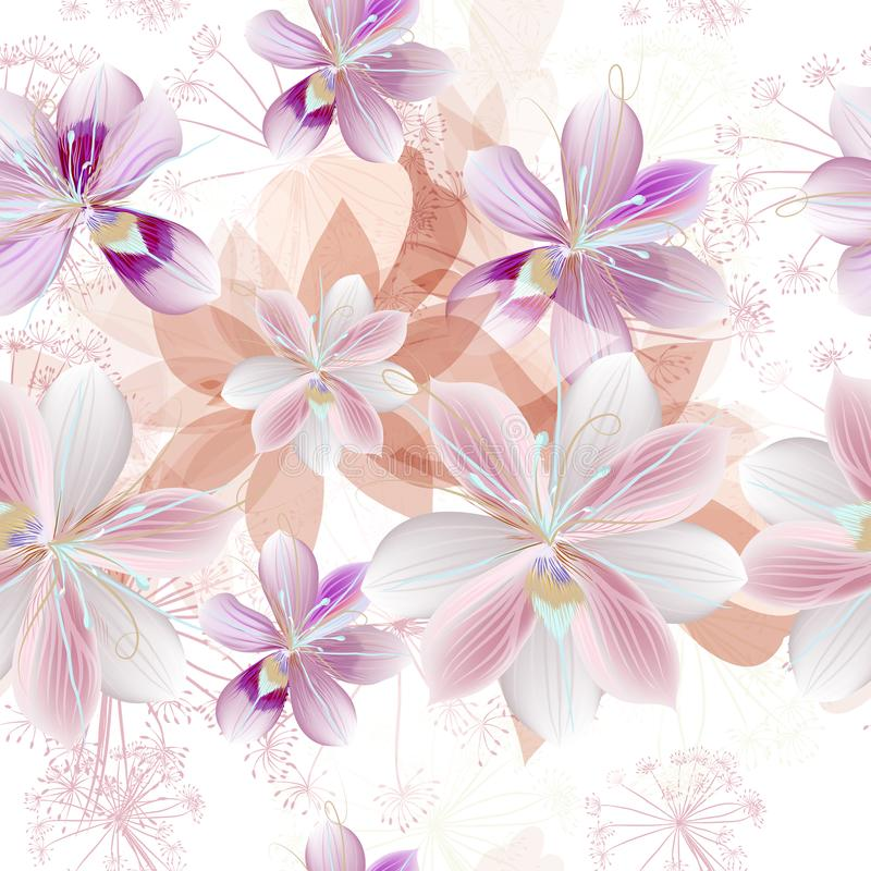 Floral vector pattern with beautiful pink flowers stock illustration