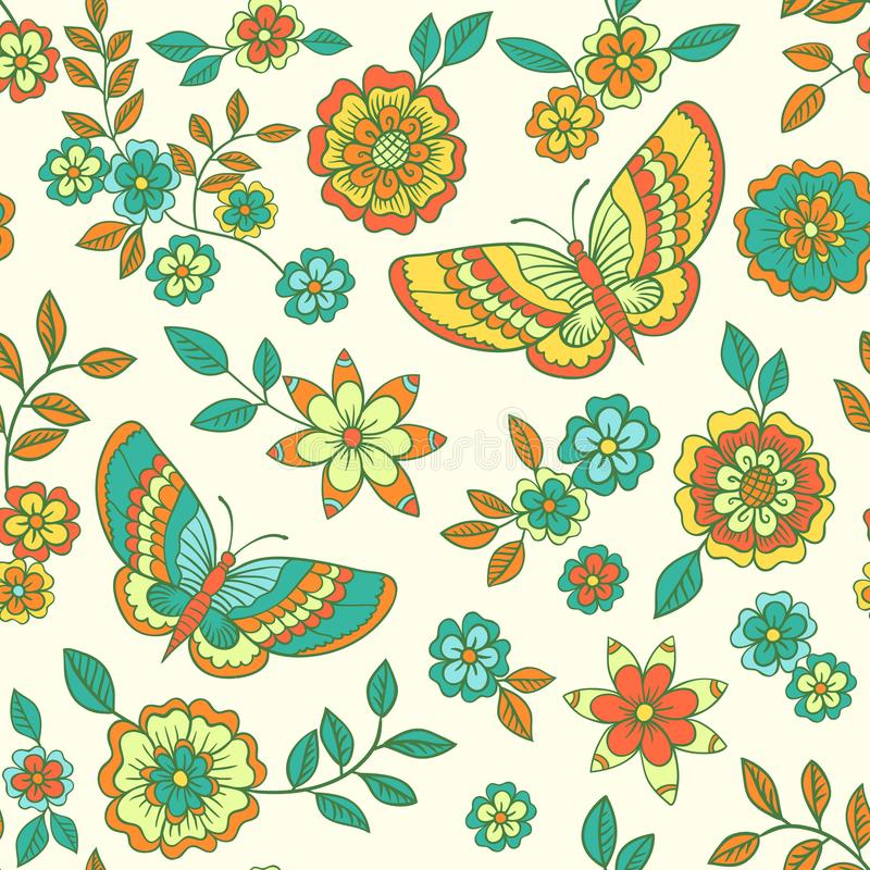 Floral vector pattern with flowers and butterflies 向量例证