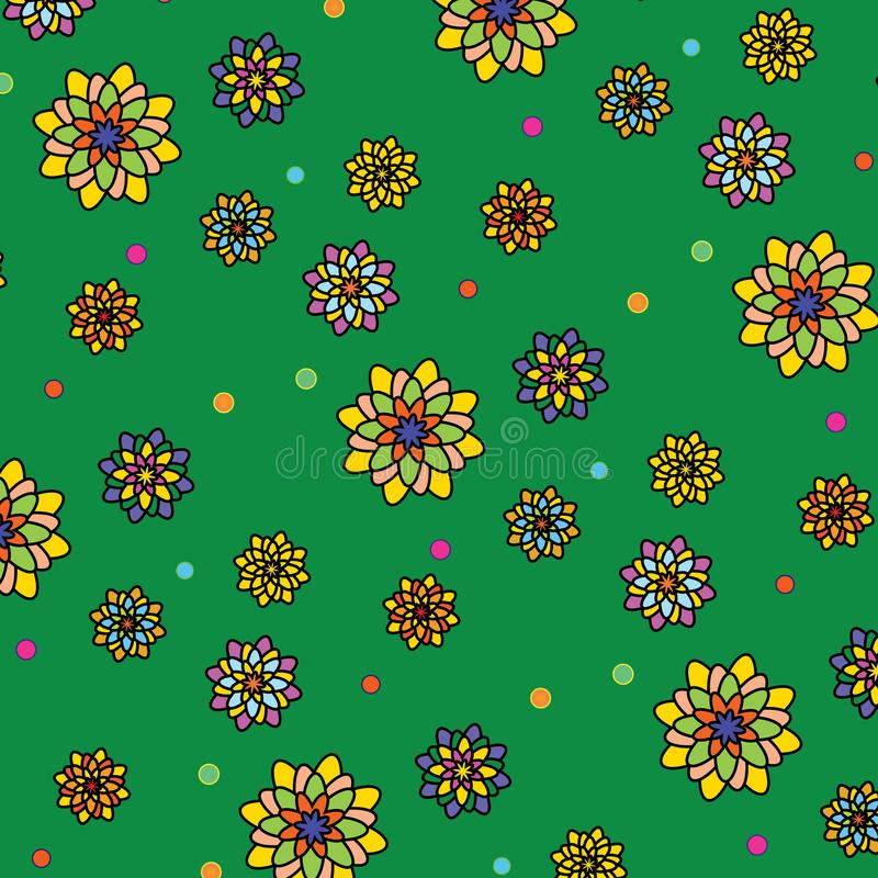 Floral vector pattern: multicolored flowers with many petals on a green background. Main colors: yellow, orange, blue. Summer, juicy, bright texture royalty free illustration