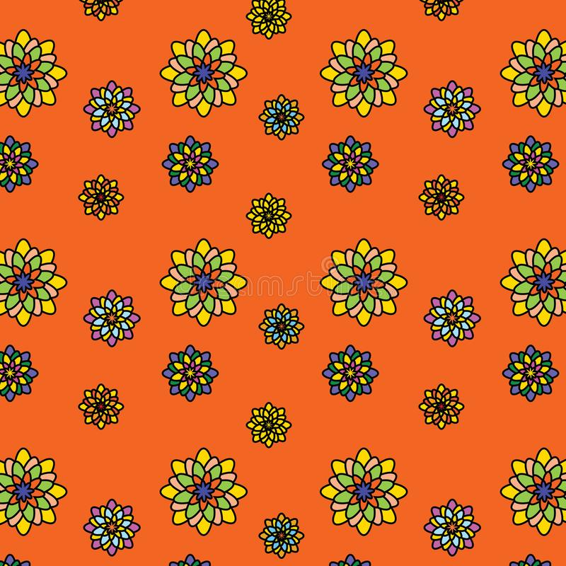 Floral vector pattern: multicolored flowers with many petals on an orange background. Main colors: yellow, orange, blue, pink. Summer, juicy, beautiful, bright royalty free illustration