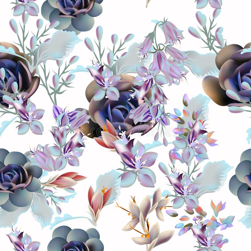 Floral vector pattern with succulent plants and flowers vector illustration