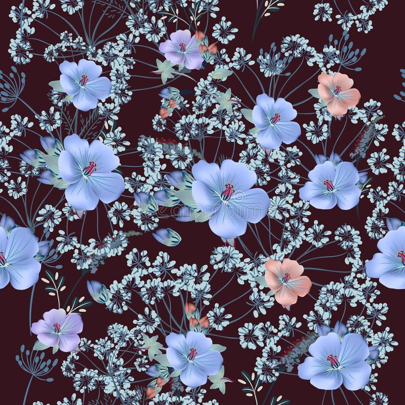 Floral vector pattern in vintage style for design. Blue and red royalty free illustration