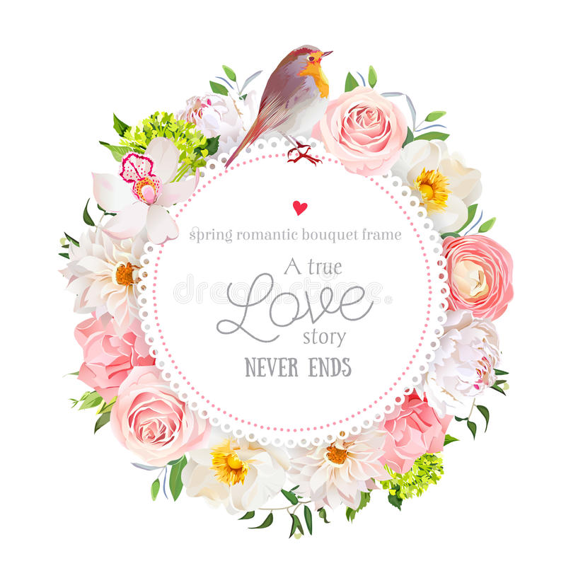 Floral vector round card with white peony, peachy rose and ranunculus, dahlia, carnation flowers, green hydrangea, mixed plants an. D cute small robin bird. All vector illustration