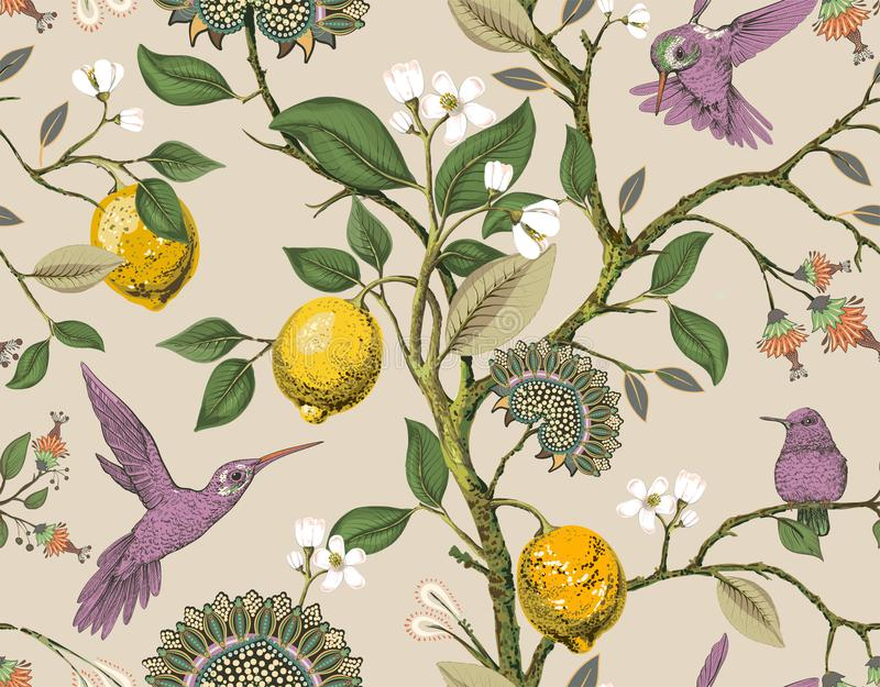 Floral vector seamless pattern. Botanical wallpaper. Plants, birds flowers backdrop. Drawn nature vintage wallpaper stock illustration