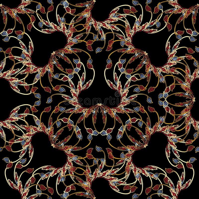 Floral vector seamless pattern. Grunge embroidery style flowers, branches, leaves. Abstract patterned background. Decorative royalty free illustration