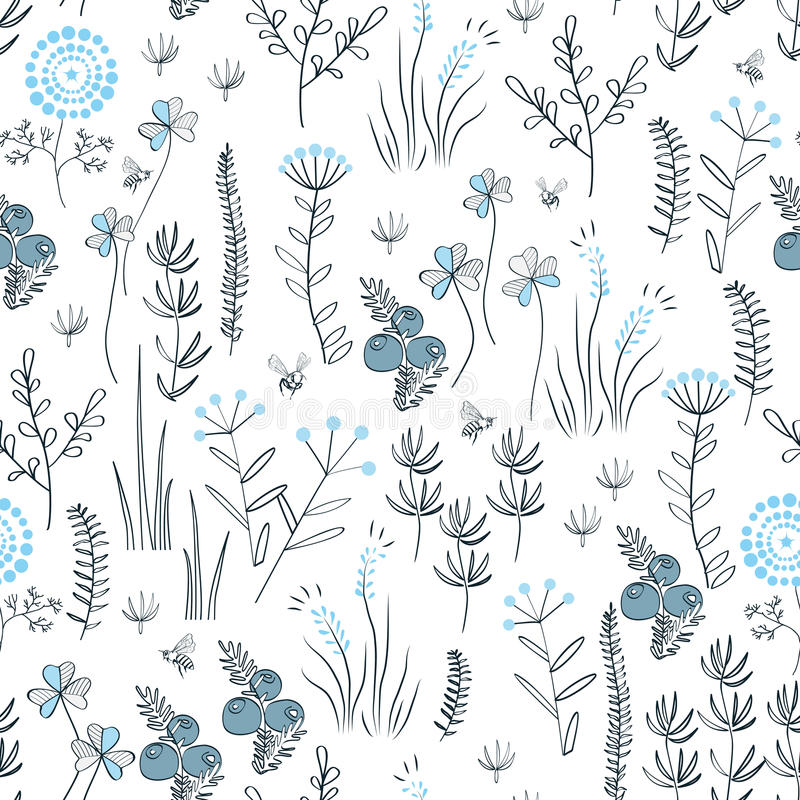 Floral vector seamless pattern with wild herbs, forest flowers and leaves. Vintage botanical background. Hand drawn royalty free illustration