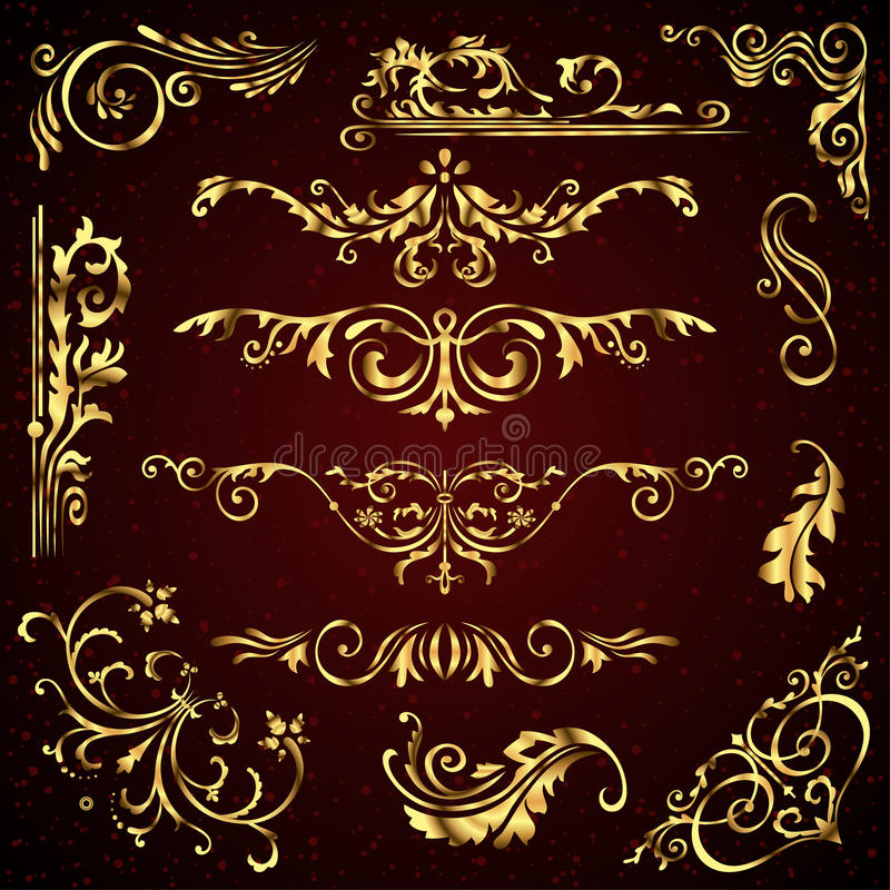 Floral vector set of golden ornate page decor elements like banners, frames, dividers, ornaments and patterns on dark vector illustration