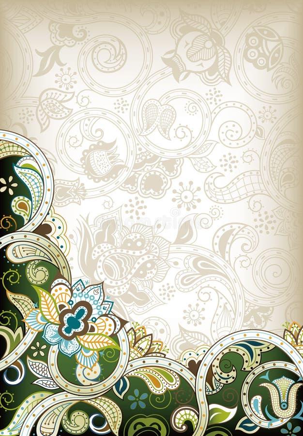Floral verde abstrato ilustração stock