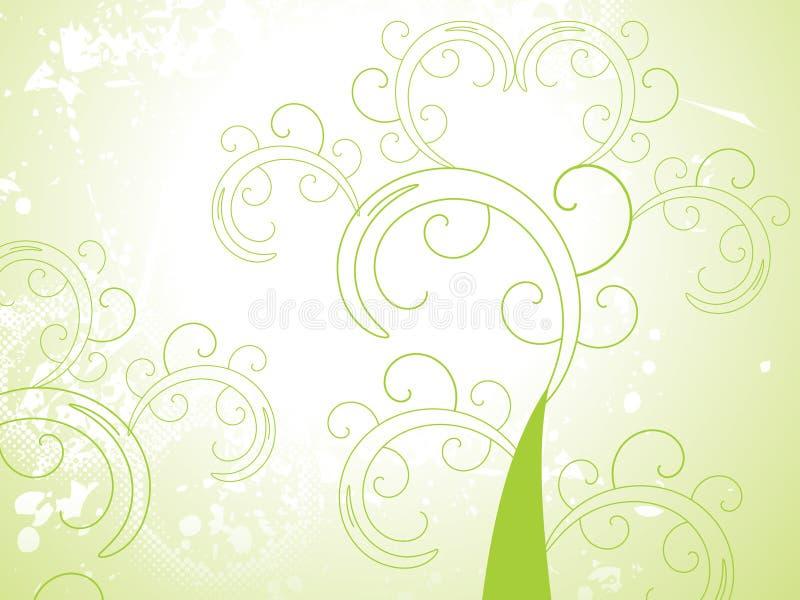 Floral verde abstrato com grunge ilustração royalty free