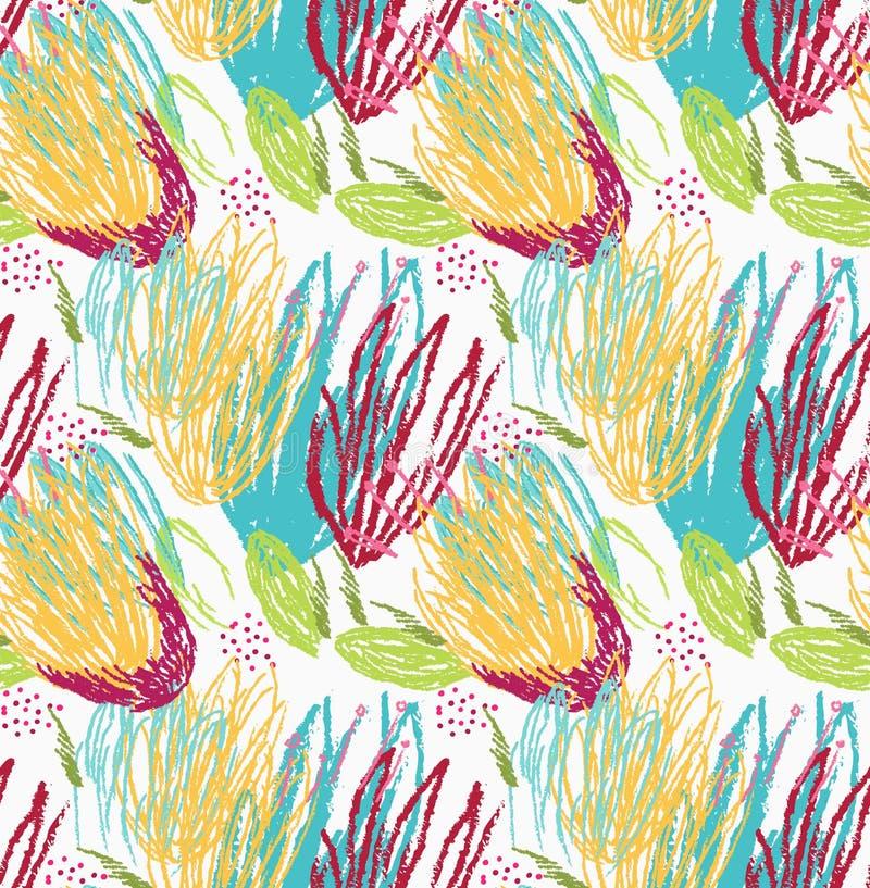 Floral verde e amarelo da escova áspera ilustração do vetor