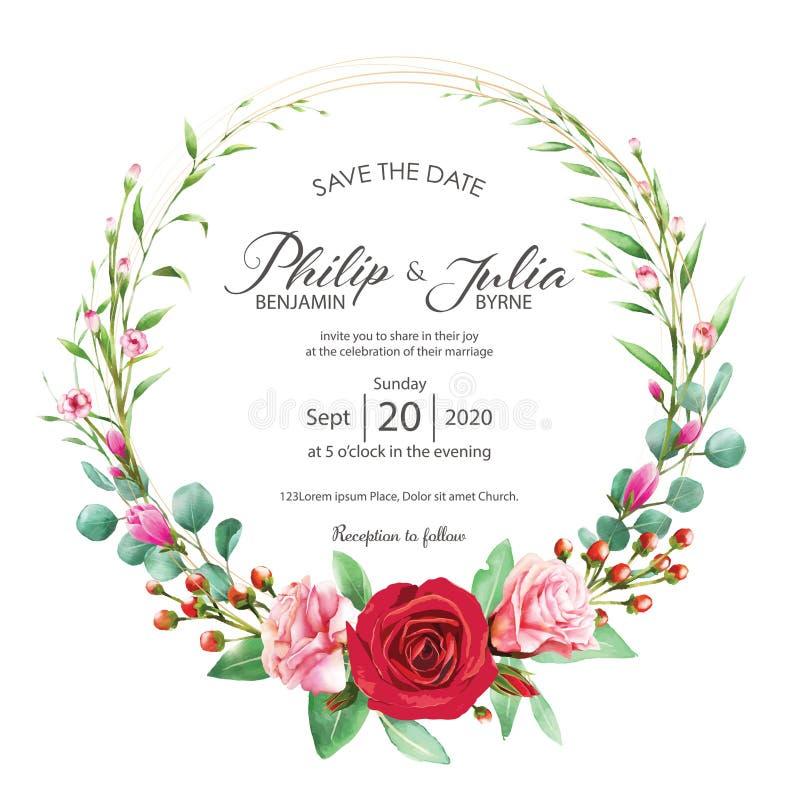 Floral vermelho e cor-de-rosa bonito, cartão do convite do casamento da flor no fundo branco Vetor, cor de água Rosa, magnólia ilustração stock