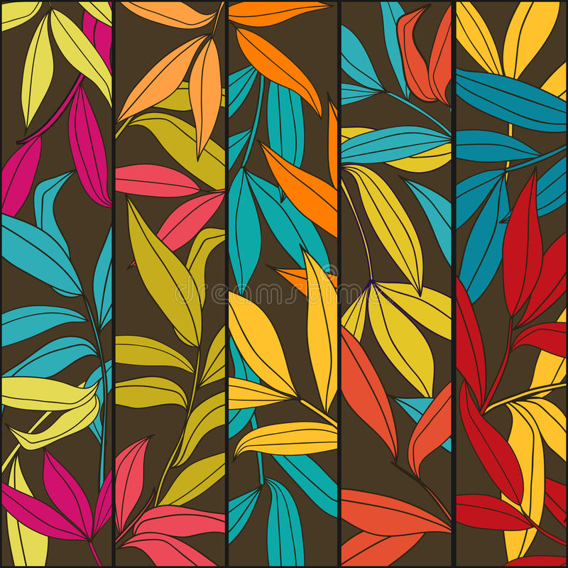 Floral vertical banners with bamboo leaves stock illustration