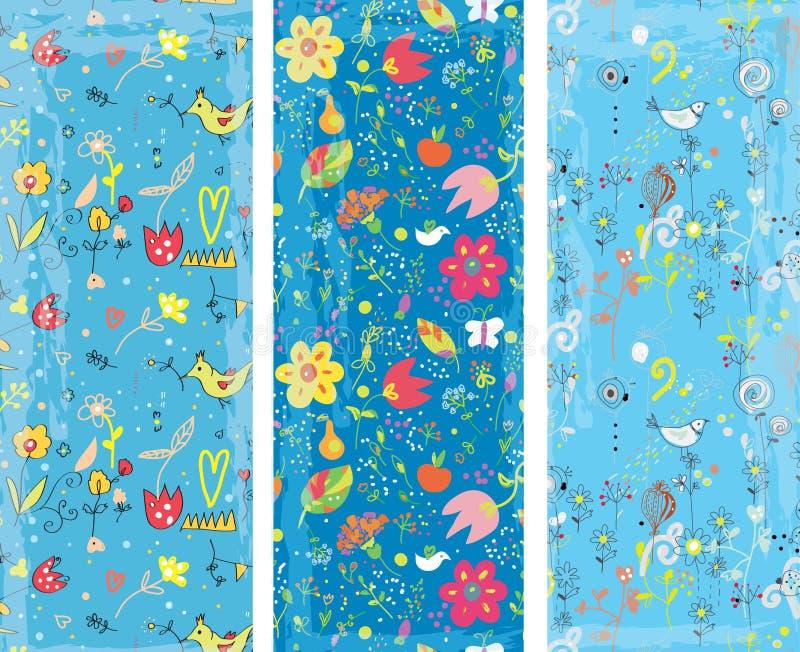Floral vertical banners set vector illustration