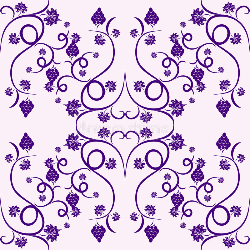 Floral vine grape violet seamless pattern stock photos