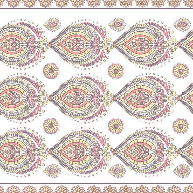 Floral vintage background with paisley ornament Seamless vector pattern бесплатная иллюстрация