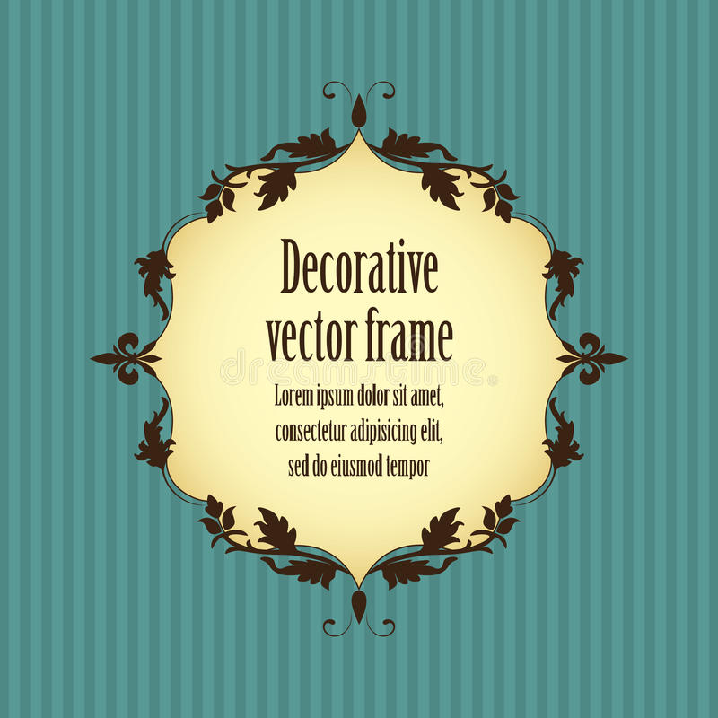 Floral vintage frame in beige brown color isolated on blue striped seamless background vector illustration