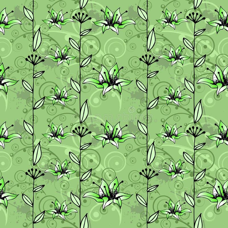 Floral vintage hand-drawn seamless pattern. stock illustration