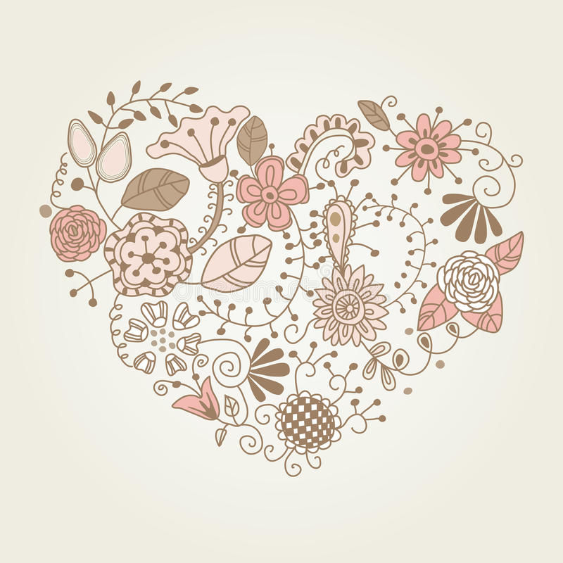 Floral vintage heart shape stock vector. Illustration of ...