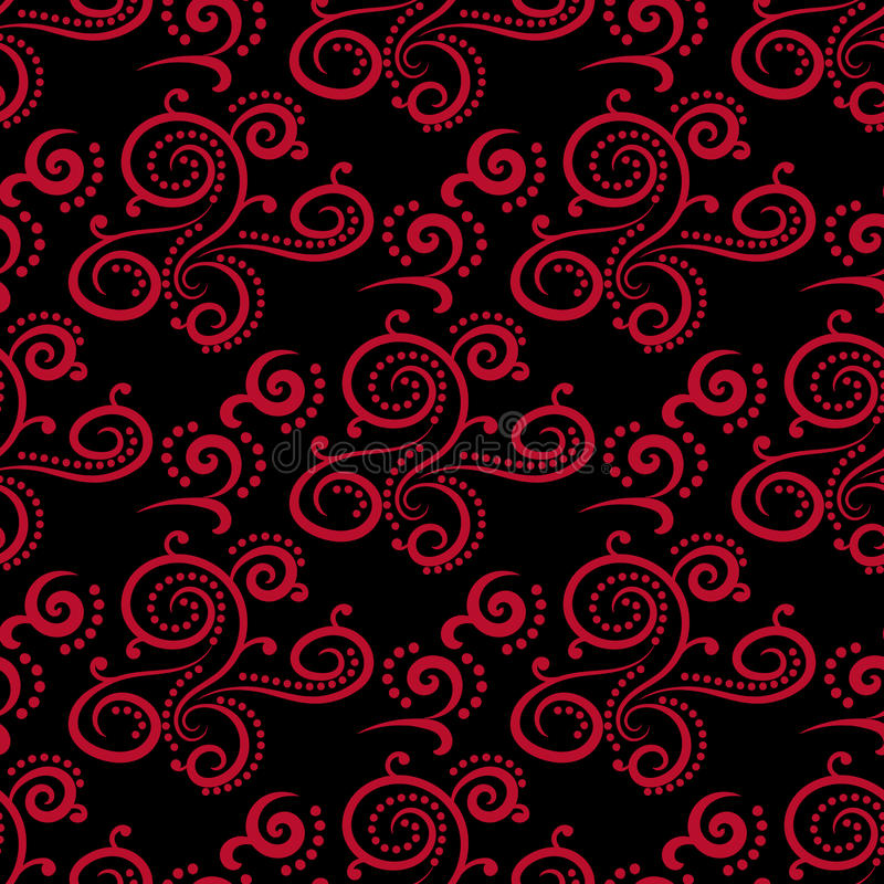 Download Floral Vintage Ornaments Black And Red Seamless Patterns For Fabric Wallpaper Stock Vector