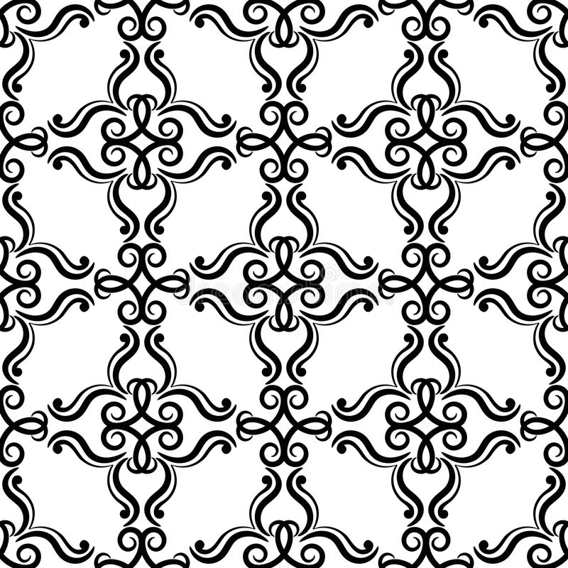 Floral vintage ornaments. Black and white seamless patterns for fabric and wallpaper vector illustration