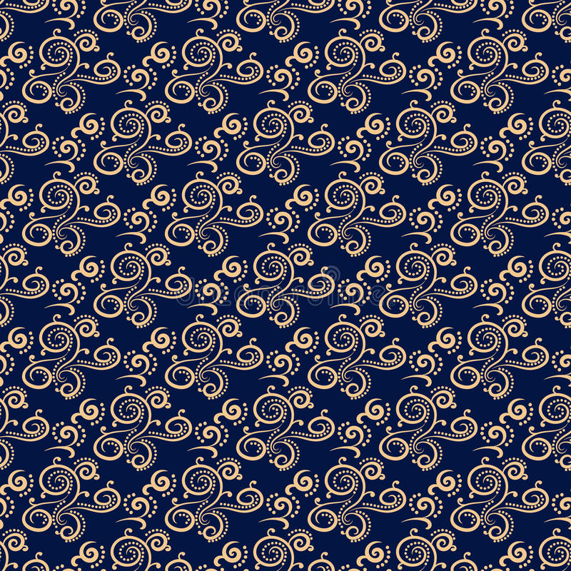 Floral vintage ornaments. Blue and golden seamless patterns for fabric and wallpaper vector illustration