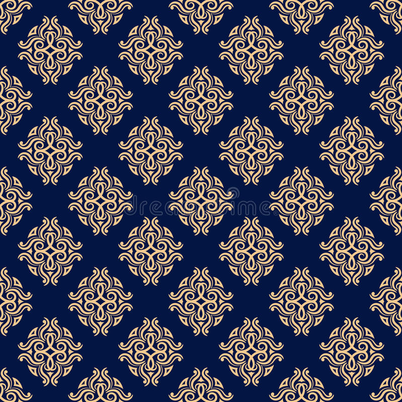 Floral vintage ornaments. Blue and golden seamless patterns for fabric and wallpaper stock illustration