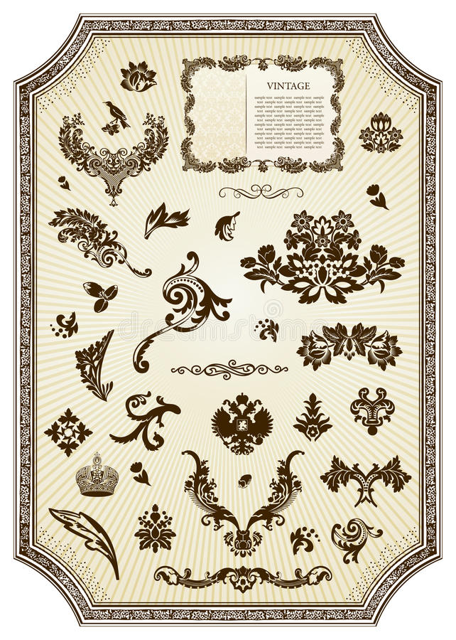 Download Floral Vintage Royal Design Element Stock Vector - Image: 13189341