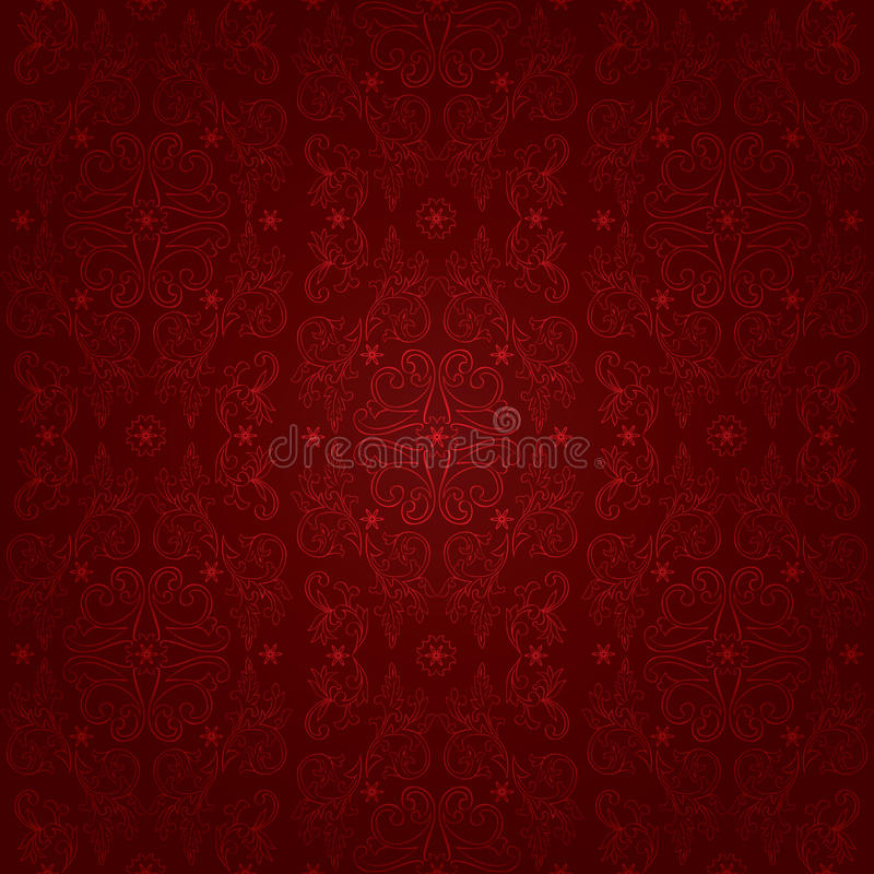 Floral vintage seamless pattern on a red background royalty free illustration