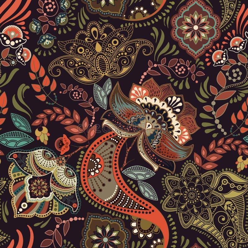 Floral vintage seamless pattern. Retro plants style. Paisley motif. Colorful damask ornament. Floral vintage seamless pattern. Retro plants style. Colorful stock illustration