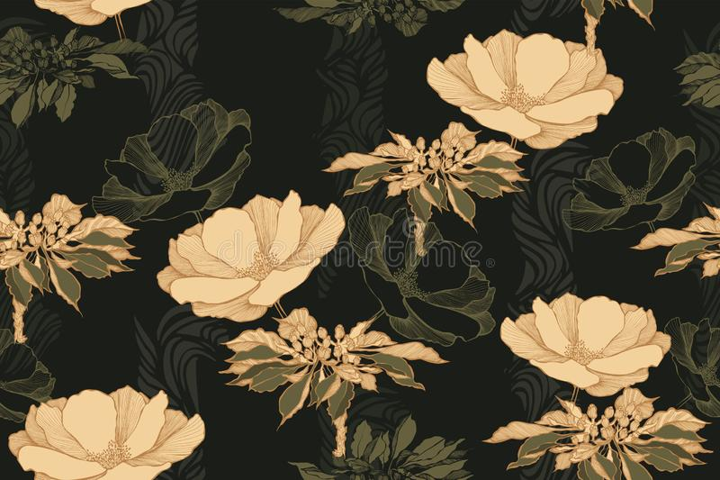Floral vintage seamless pattern with roses. Hand drawing, vector illustration.  royalty free illustration